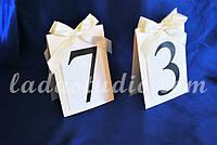 Номер свадебного стола, цвет айвори, с бантом, двухсторонний