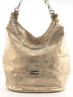 Стильная наплечная блестящая вместительная женская сумка  KISS ME art. Q727 золотистая