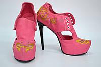 """Туфли женские с вышивкой """"бабочка"""" IK-321 (розовый), фото 1"""