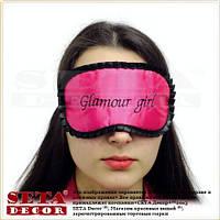"""Маска, повязка для сна """"Glamour girl"""" малиновая, синтетический шелк"""