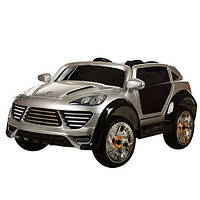 Детский электромобиль с мягкими колесами Porshe Cayene M 2735 EBLRS-11, кожаное сиденье