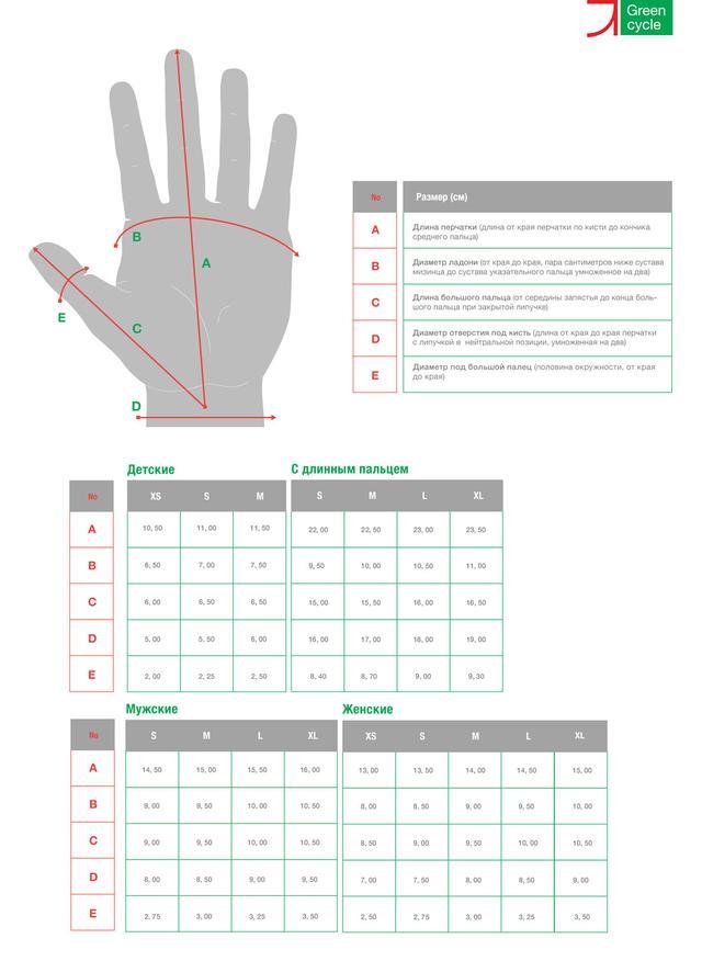 размерная сетка перчаток Green Cycle