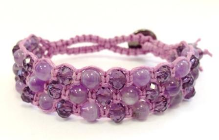 Браслет Аметист + хрусталь фиолет. Хлопковый шнур. 3 ряда