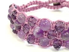 Браслет Аметист + хрусталь фиолет. Хлопковый шнур. 3 ряда, фото 3