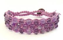 Браслет Аметист + хрусталь фиолет. Хлопковый шнур. 3 ряда, фото 2