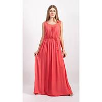 Молодежное кораловое платье макси из хлопка