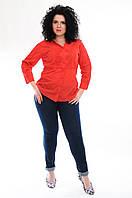Блузка женская красная с прошлой и рукавом, 48-54 размеры