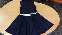 Платье нарядное для девочки , синее с ремешком