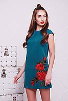 """Платье с вышивкой """"Роза"""" р. 42-50 бирюза"""