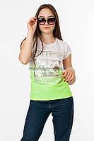 Женская футболка с серебристым принтом Freedom цвет белый p.44-46 Gusse 5742 SS14-1