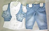 Детский летний джинсовый костюм с жилеткой для девочек 2-4 года