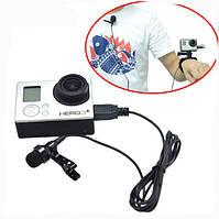 Петличный микрофон для Gopro Hero 3+/4 с клипсой MINI USB, фото 1