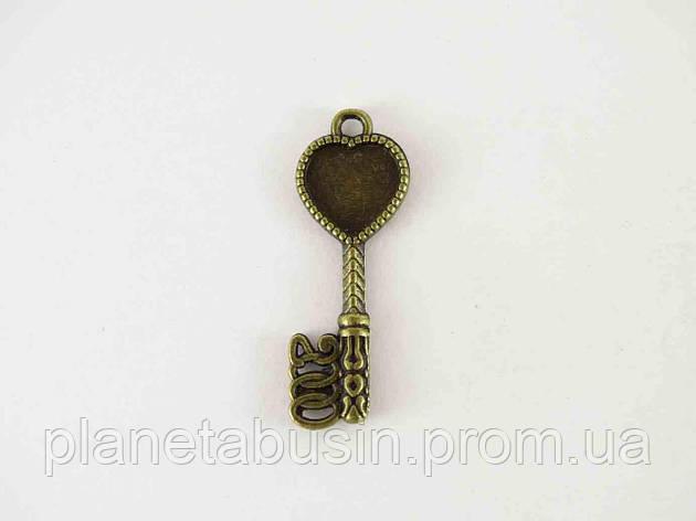 Кулон Ажурный ключик, размер 11х30 мм, фото 2