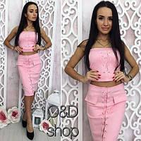 Костюм замшевый корсет+юбка (3 цвета)
