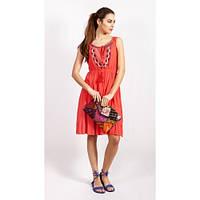 Кораловое платье с вышивкой из хлопка