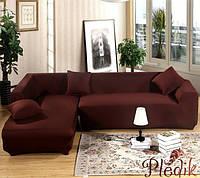 Чехол на угловой диван 230х300 HomyTex универсальный эластичный, кофе