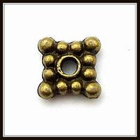 Спейсер, рондель метал. квадратный, бронза (0,6*0,6 см) 60 шт в уп.