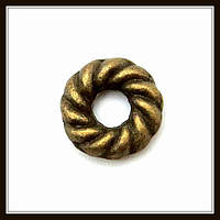 Спейсер, рондель метал. круглый, бронза (диам. 0,8 см) 40 шт в уп.