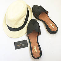 Стильные летние комфортные Troisrois сланцы из натуральной турецкой кожи Черный