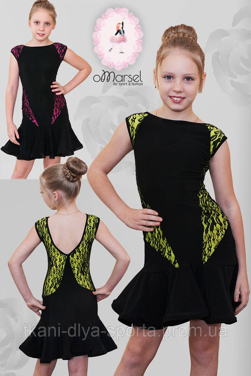 Платье с цветными вставками под черным гипюром для тренировок и выступлений