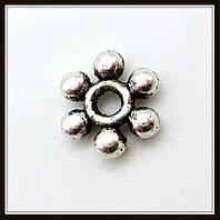 Спейсер, рондель метал., серебро (диам. 0,6 см) 60 шт в уп.
