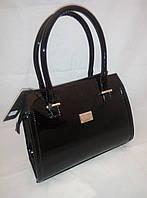 Чёрная каркасная лаковая женская сумка B.Elit