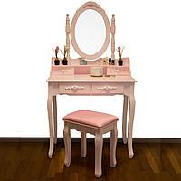 Туалетный столик с зеркалом и стулом розовый