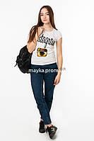 Женская футболка с принтом Instaram цвет белый p.44-46 Gusse 7007 SS16-1