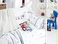 Детское постельное белье c вязаным покрывалом First Choice Nirvana Baby Penguins Mavi