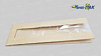 Пакет для багета с п/п окном 570х90х40х40 (Бурый крафт), фото 1