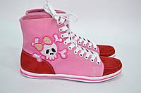 """Высокие женские кеды """"Бантик"""" IK-537 (розовый+красный замша), фото 1"""