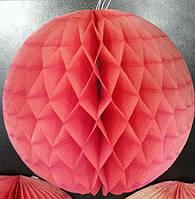 Малиновый шар-соты из бумаги тишью для декора d=24 см. Уценка.