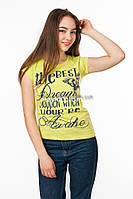 Женская футболка с принтом The best цвет салатовый p.44-46 Gusse 3016 SS17-1