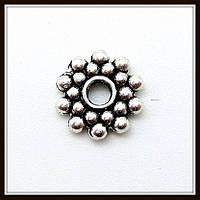 Спейсер, рондель метал., серебро (диам. 0,8 см) 40 шт в уп.