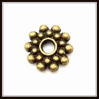 Спейсер, рондель метал., бронза (диам. 0,8 см) 40 шт в уп.