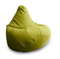 Салатовое кресло-мешок груша 140*100 см из микро-рогожки