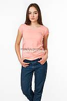 Стильная однотонная женская футболка Cusse цвет пудра p.44-46 Gusse 5237 SS18-1