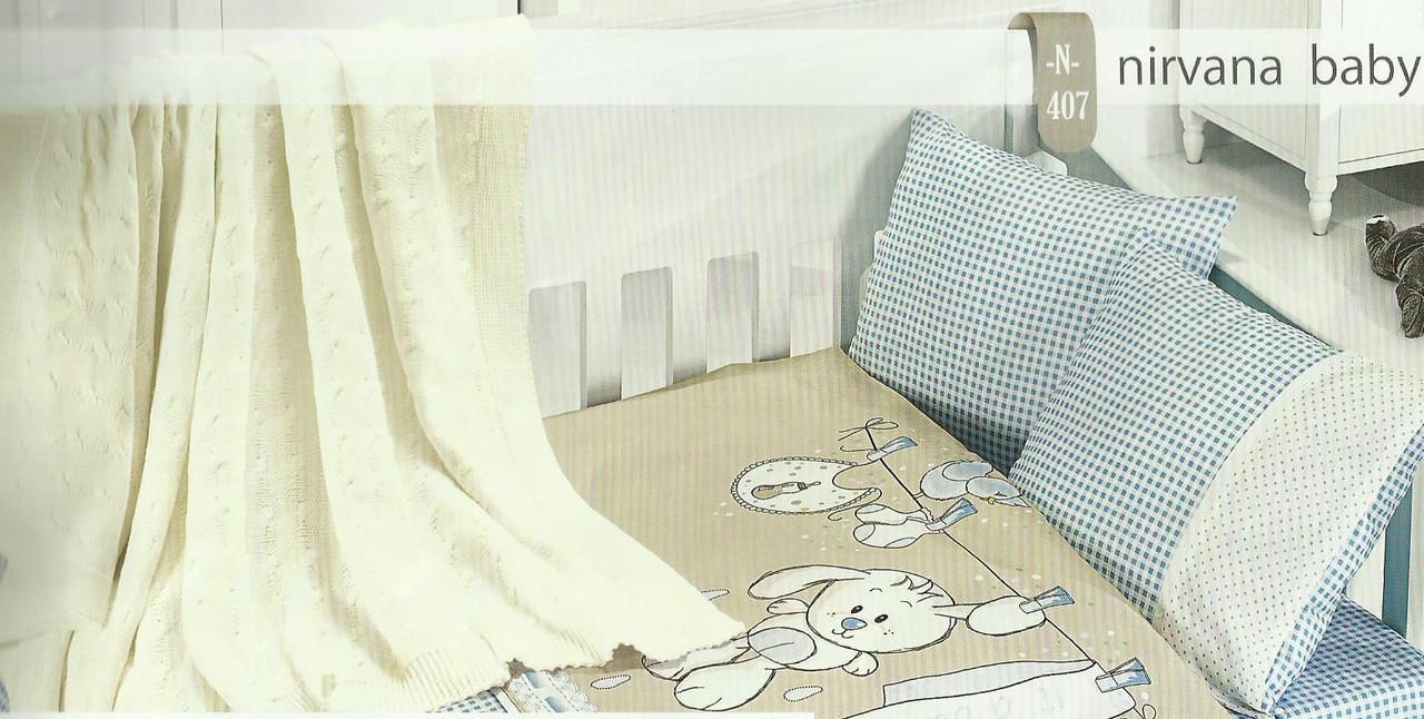 Детское постельное белье c вязаным покрывалом First Choice Nirvana Baby Mavi