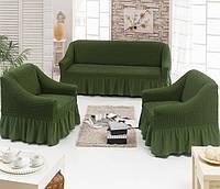 Чехол на диван и 2 кресла с оборкой темно-зеленый