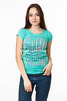 Женская футболка с принтом Coffee цвет бирюза p.44-46 Gusse 3023 SS19-1
