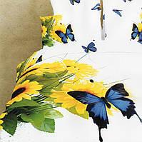 Постельное 3D бабочка  на подсолнухах евроразмера