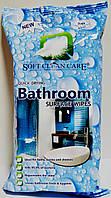Антибактериальные влажные салфетки для уборки в ванной Soft Clean Care Bathroom 72 шт