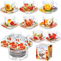 Сервиз чайный 12 пр. на металической стойке Цветы SNT 152-00