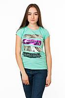 Женская футболка с ярким принтом Beautiful цвет бирюза p.44-46 Gusse 5741 SS20-1