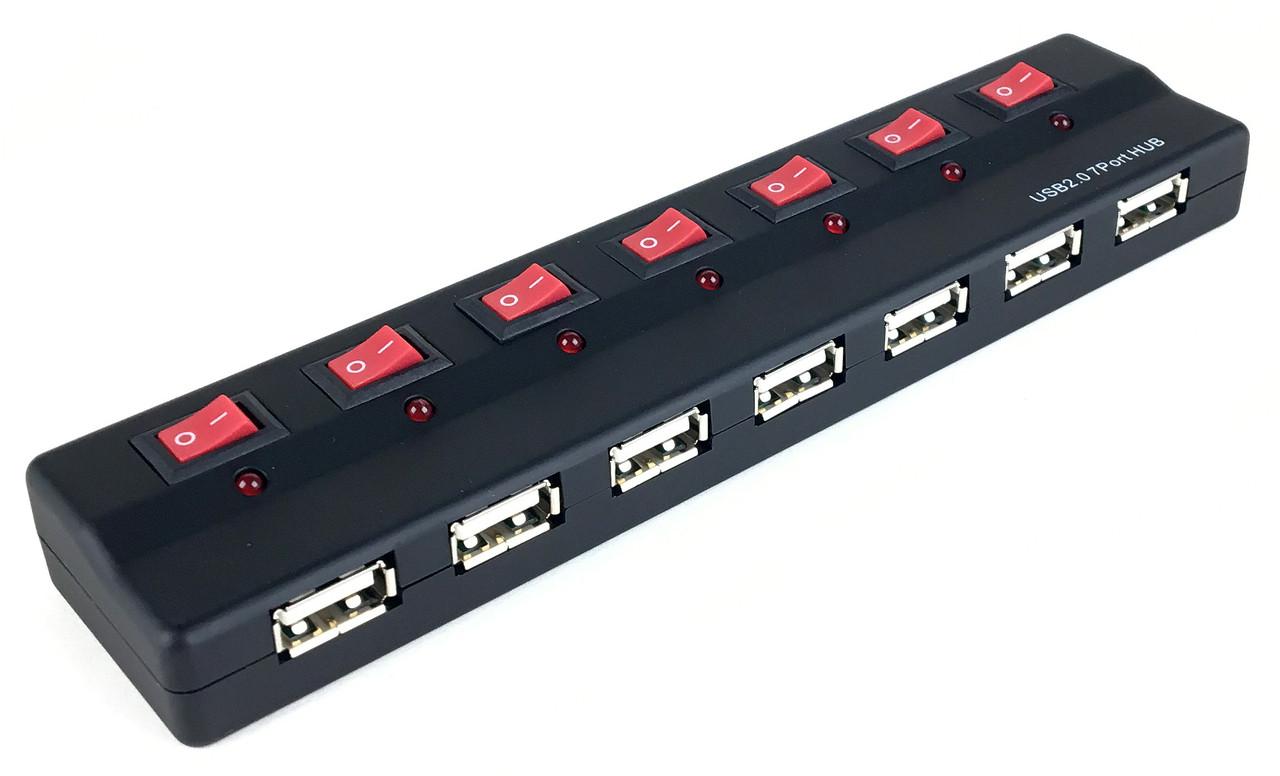 Хаб USB Wiretek WK-U207, USB2.0 7 ports w/Power Switch, AC