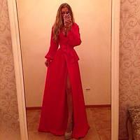 Вечернее платье длинное , с разрезом ,ткань масло , 2 расцветки, длина 165 см  АА№ 169-3