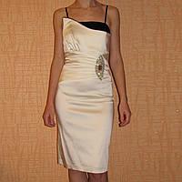 Вечернее коктейльное атласное платье на выпускной со стразами р.42 - 44