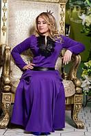 Платье женское в пол (батал) ,ткань трикотаж   отделка эко кожа  ворот качественная кожа ДГ №606