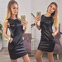Черное мини платье из эко-кожи