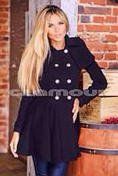 Пальто женское , ткань кашемир , цвет черный , к низу расклешенное,супер качество  ЕС  420-02